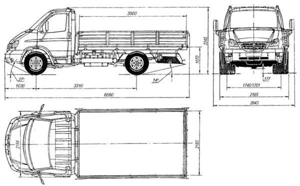 Габариты и параметры массы «ГАЗ-33104»