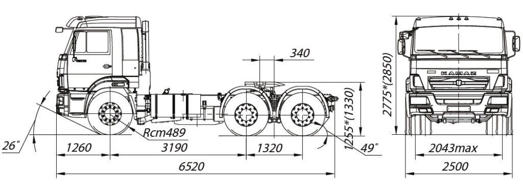 Габаритные параметры КамАЗ-65116