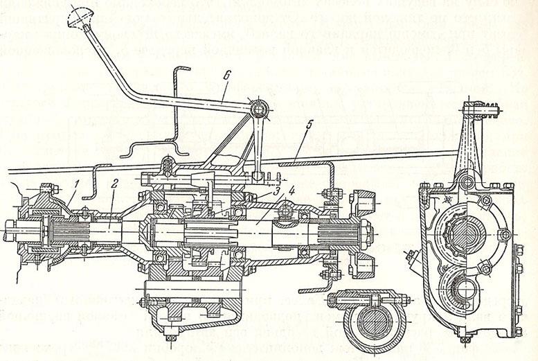 Типовая дополнительная коробка трёхосных грузовиков ГАЗ-ААА, ЗИС-6 и ЯГ-6