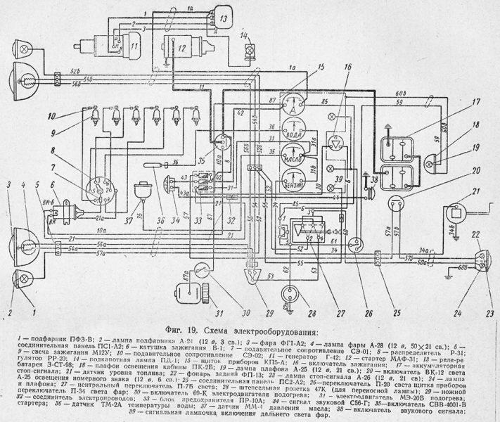 Схема электрооборудования УралЗИС-355