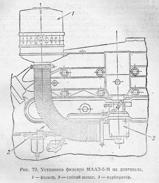 Установка фильтра МААЗ-5 на двигателе